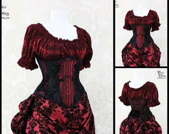 Steampunk Renaissance Black & Red Steel Boned Corset - You Choose Your Corset Style - Custom Sized