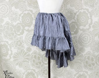 """Steampunk High Low Mini Cecilia Skirt -- Silver Crinkle Taffeta -- Ready to Ship -- Best Fits Up To 45"""" Waist"""