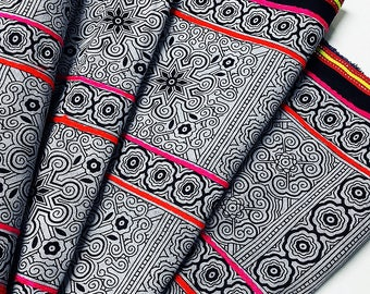 Thai Hand printed Fabric Natural Cotton Fabric by the yard Hmong Fabric Hill Tribe Fabric Vintage Fabric Indigo Batik Black White HF16