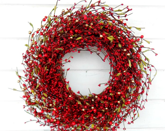 Featured listing image: Winter Wreath-New Years Wreath-Holiday Wreath-Christmas Door Wreath-RED Berry Wreath-Rustic Christmas Wreath-Holiday Home Decor-Scent Wreath