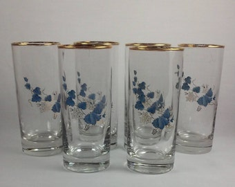 Clear Glass Water Glasses, Set of 6, Gold Trimmed Blue Vines, Gold Trimmed Rims, Something Vintage, Something Blue, Drinking Glasses