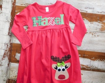 Red Christmas Dress, Personalized Dress with Reindeer Appliqué, Long Sleeved 3-6m to 8yrs