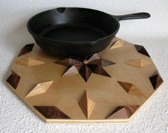 Wooden Kitchen Trivet.  Decorative wood hot pad. Woodwork hot pad. Birch, walnut and oak decor. Wood wall art