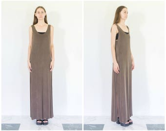 90s Slinky Brown Sleeveless Maxi Dress / Tank Dress