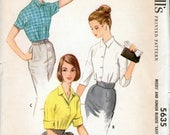 Great Vintage 1960s McCall's 5635 Easy To Sew Kimono Sleeve Convertible Collar Blouse Sewing Pattern B36