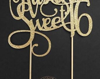 Custom Sweet 16 Cake Topper, Personalized Sweet 16 Cake Topper, Glitter, monogram cake topper, sweet 16, birthday