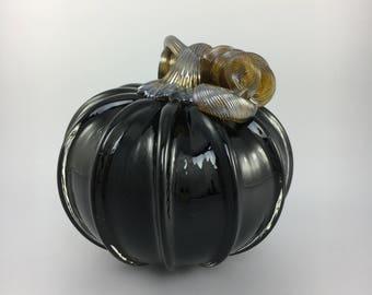 """5"""" Glass Pumpkin by Jonathan Winfisky - Opaque Black - Hand Blown Glass"""
