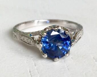 Platinum Diamond Blue Sapphire Engagement Ring