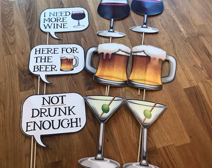 Photo Props: The Emoji Cocktail Speech Bubble Set (9 Pieces) - party wedding birthday social media iPhone app icon emoji beer wine
