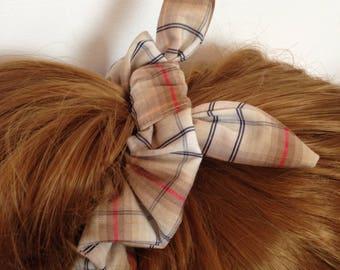 Brown tartan, bendy bow hair scrunchie