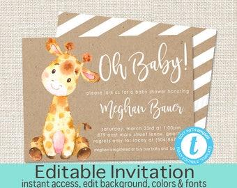 Giraffe Baby Shower Invitation, Safari Giraffe Invitation, Editable invitation, Kraft Baby Safari Jungle Invitation, Instant Download