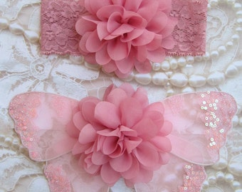 Vintage Rose Glitter Baby Butterfly Wings AND/OR Headband - for newborn photos, photo prop, newborn photographers by Lil Miss Sweet Pea