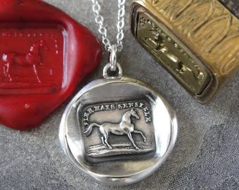 High Spirited Horse Wax Seal Necklace - antique wax seal jewelry Equestrian French motto by RQP Studio