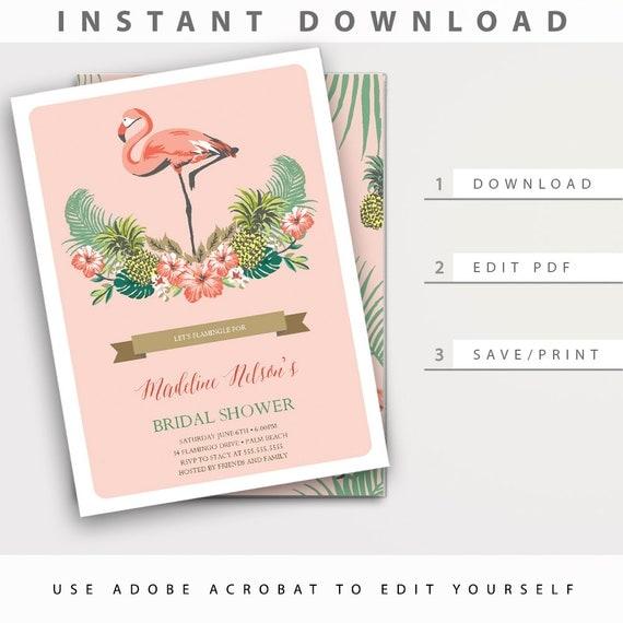 Relatively luau bridal shower invitations gc27 advancedmassagebysara fabulous flamingo bridal shower invitation instant download editable uu66 filmwisefo