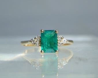 Vintage Green Emerald Diamond Yellow 14k Gold Ring Size 6 Deep Color Hue Beautiful Emerald Cut Emerald 0.67 carat Gemstone DanPickedMinerals