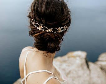"Wedding Hair Accessory, Beaded Headband, Bridal Headband, Crystal Halo, Boho Bridal Crown ""Aurora"""