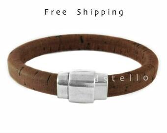 Spanish cork bracelet, Custom mens bracelet, Genuine cork around a leather core - Men's jewelry - Gift for him - Husband - Bestman - Father