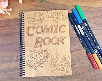 Comic Book - Blank Comic Book - Laser Engraved Wood - Comic Panels - DIY Comic Book