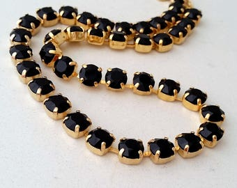 Black swarovski crystal necklace,Black crystal necklace,Bridesmaids gift,Tennis necklace,Black crystal necklace/bracelet,Bridal necklace,