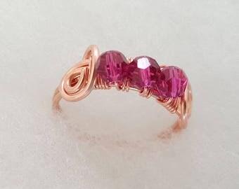 Copper Swirls - Fuschia Pink Swarovski Crystals - Handmade Wire Ring - Choose your size - FREE domestic U.S. shipping
