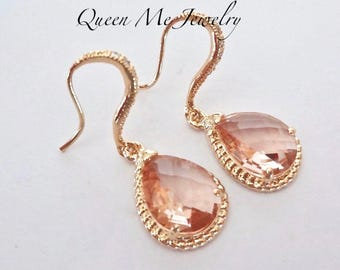 Champagne peach gold earrings - 14k gold over sterling posts - Gold champagne earrings, Wedding earrings ~ Bridesmaids jewelry - GIFT