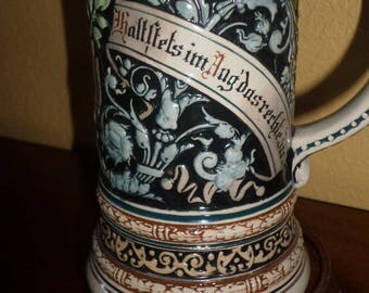 Vintage/AUTHENTIC GERMAN STEIN/Pewter Lid/Gold Trim