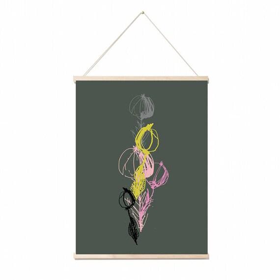 Stems A3 art print. Wall art. Botanical wall art/gift