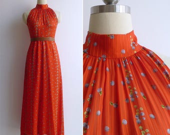 Vintage 70's 'Blueberry Bunches' Red Halter Neck Maxi Dress XS or S