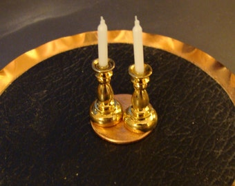 Pair, Brass Candlesticks, a Pair of Gold Plated Brass for Dollhouse or Miniatures Collection