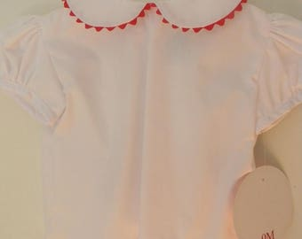 Girl White Peter Pan Collar Blouse - RED trim