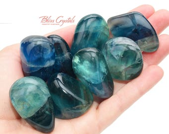 1 Jumbo Blue Green FLUORITE Tumbled Stone Polished Gemmy Healing Crystal and Stone Focus Memory #BF02