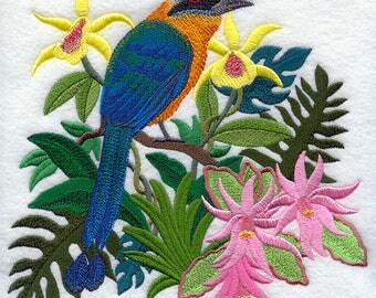 Easter Cactus and Blue-Crowned Motmot Embroidered on Plain Weave Cotton Tea Towel // Iron-on Patch // Kona Cotton Fabric Square