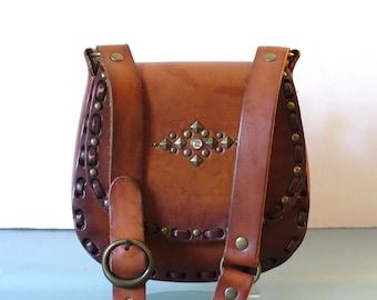 Vintage Bohemian Studed Heavy Leather  Shoulder Bag