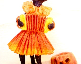 Spun cotton Halloween musical black cat singer accordion player OOAK vintage craft vignette by jejeMae