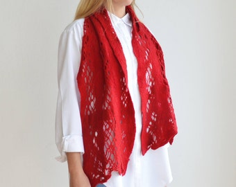 Red Lace Felt Scarf, Cobweb Wool Cut Outs, Lightweight Wearable Art,