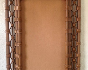 "1981~BURWOOD Products Co.~Faux Bamboo~Wicker Picture~Mirror Frame~19"" x 31""~EVC"