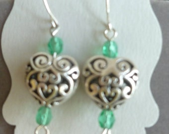 Silver Filigree, Heart Shaped Earrings with Green Crystals