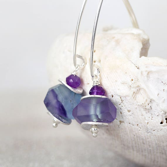 Fluorite Earrings -  Raw Stone Earrings