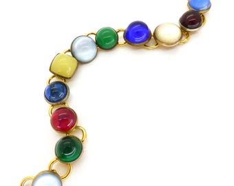 Vintage Rainbow Glass Cabochon Panel Bracelet