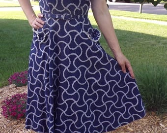 simpli-smart NAVY COTTON SUNDRESS 1940's 1950's S 26 waist
