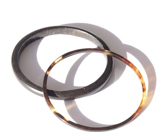 ORGANIC MATERIALS GIFT Idea - bangles from from horn and wood, narrow size, great gift for lover of jewelry made from natural materials