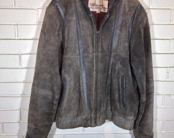 80's leather bomber jacket gray size 40