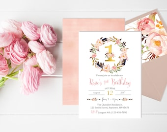 Pink Gold Floral Wreath First Birthday Invite, Printable Boho Floral First Birthday Invitation, Envelope Liner, Reverse, Download 311-W