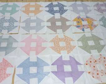 """24 Vintage PATCHWORK Quilt Blocks...Feed Sack Fabrics...Large 13"""" Square...Free Shipping"""