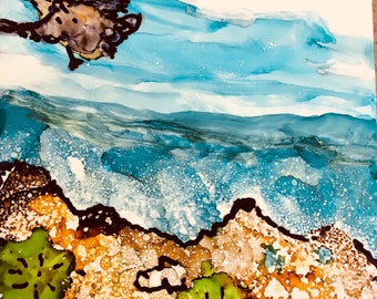 alcohol ink tiles