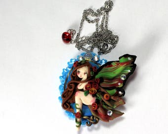 Pixie Fairy Tinkerbell Peter Pan Jewelry Necklace Polymer Clay