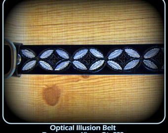 Personalized Unisex Leather Western Belt, X's and O's,fun belt,weird, unusual, Black and white, Optical Illusion,unique, different,Hand Made