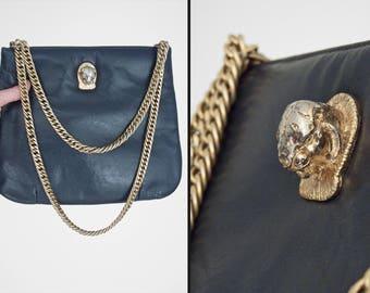 Ruth SALTZ Handbag 70s Navy Leather Gold Metal Cougar Head Chain Strap