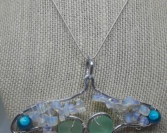 Mermaid Tail Fin Sea Glass Pendant