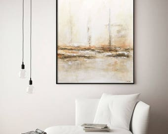 30 x 40 Large art original modern abstract oil painting contemporary art sienna wall art abstract painting by L.Beiboer